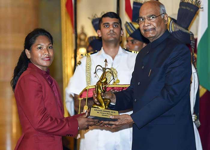 Swapna-Barman-honored with the Arjuna Award by President Ram Nath Kovind
