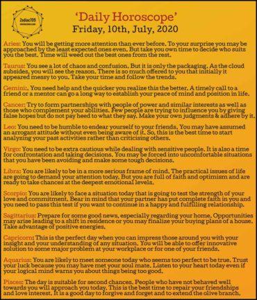 10th July Horoscope 2020