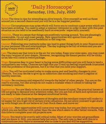 11th July Horoscope 2020