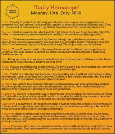 13th July Horoscope 2020