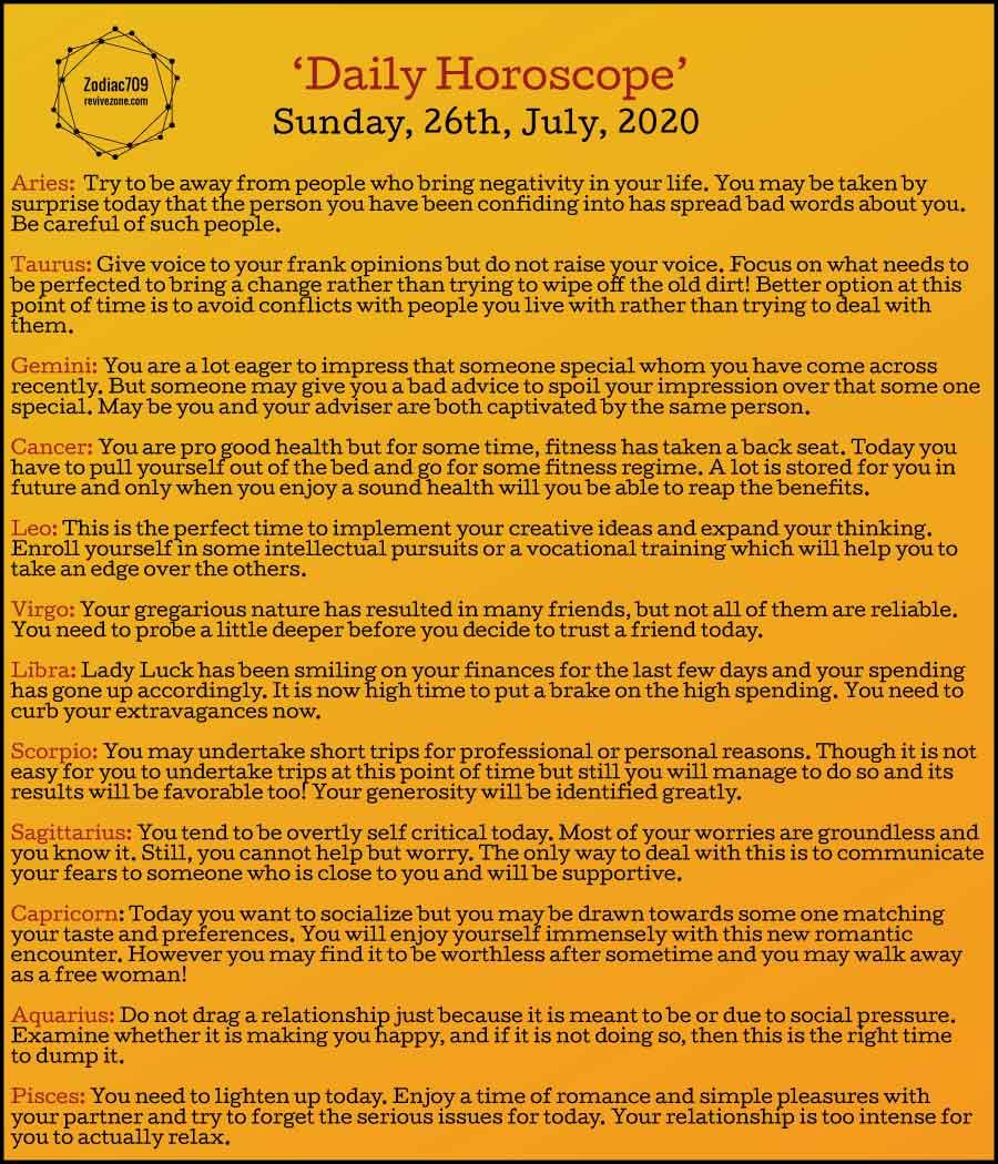 26th July Horoscope 2020