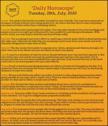 28th July Horoscope 2020
