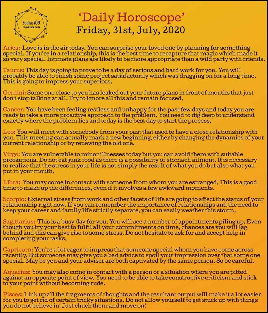31st July Horoscope 2020