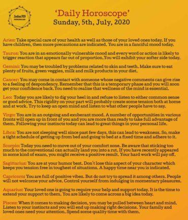 5th July Horoscope 2020