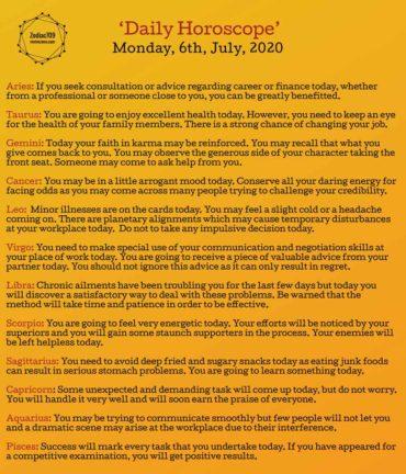 6th July Horoscope 2020