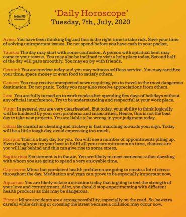 7th July Horoscope 2020