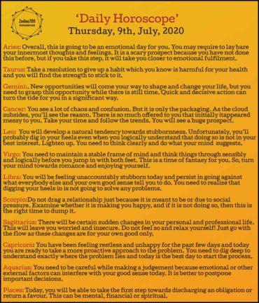 9th July Horoscope 2020