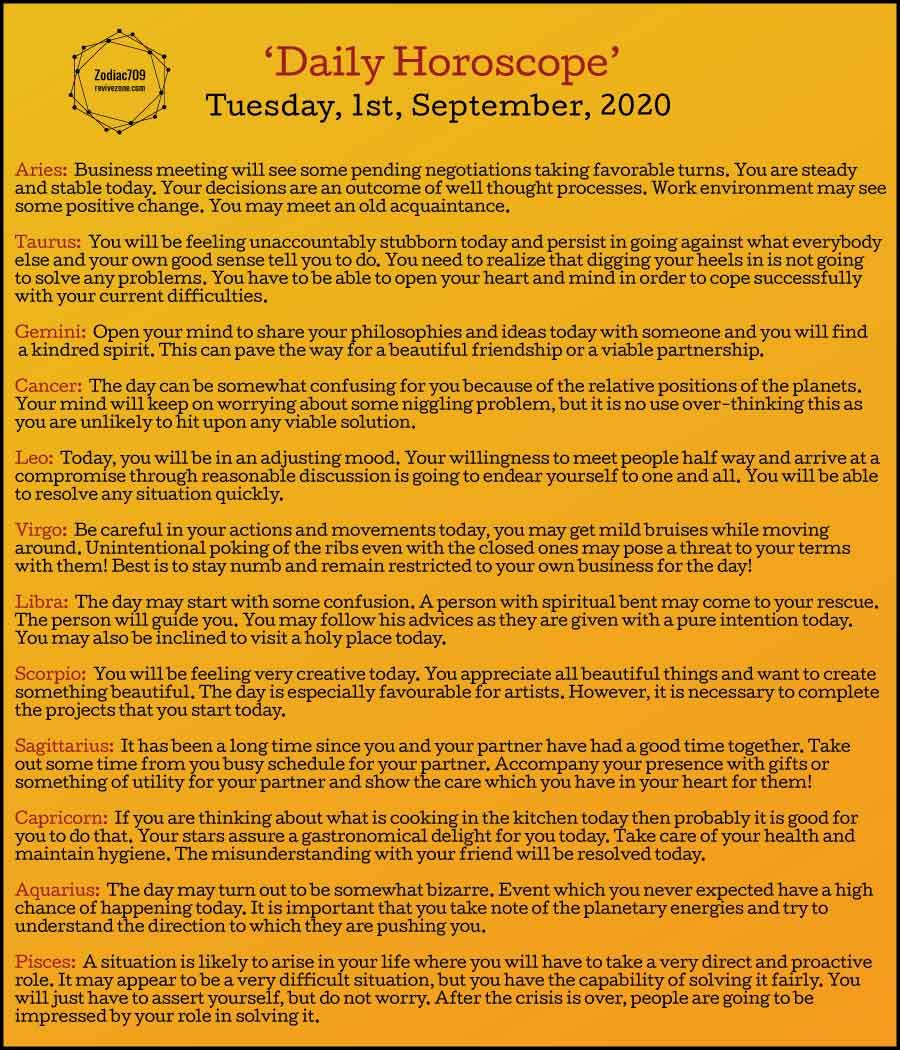 1st September Horoscope 2020