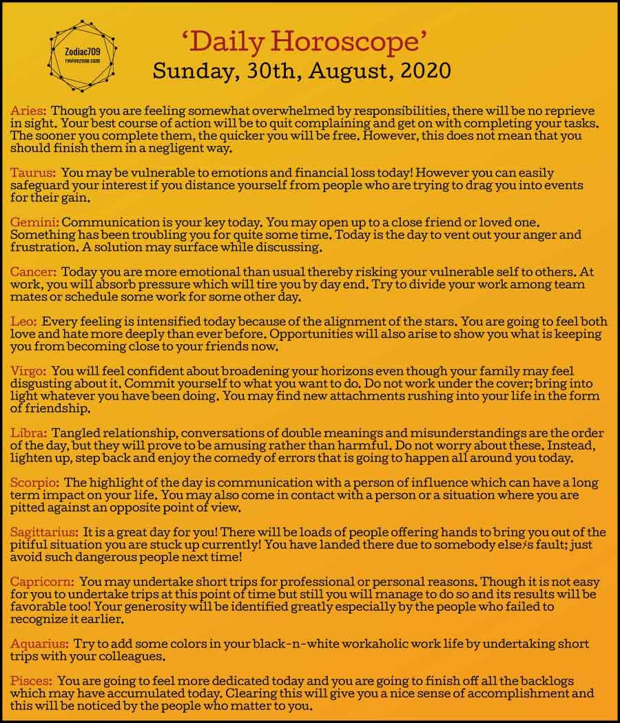 30th August Horoscope 2020