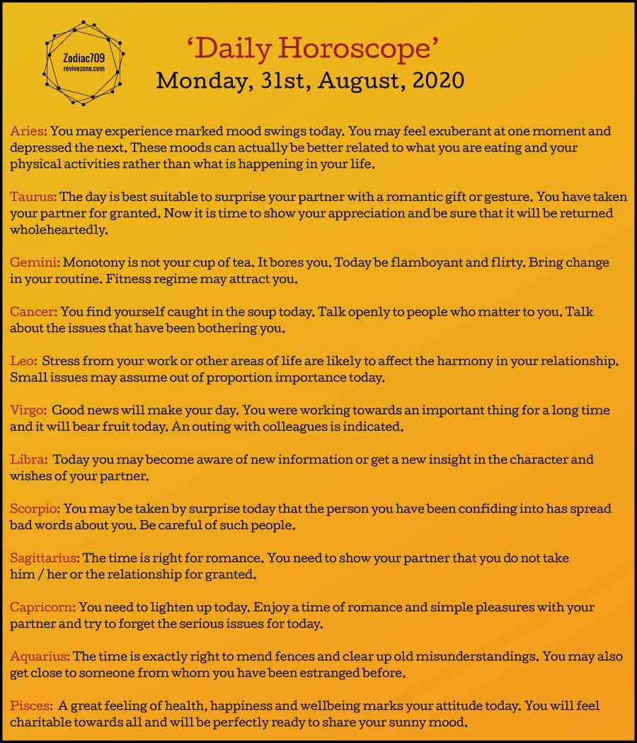 31st August Horoscope 2020
