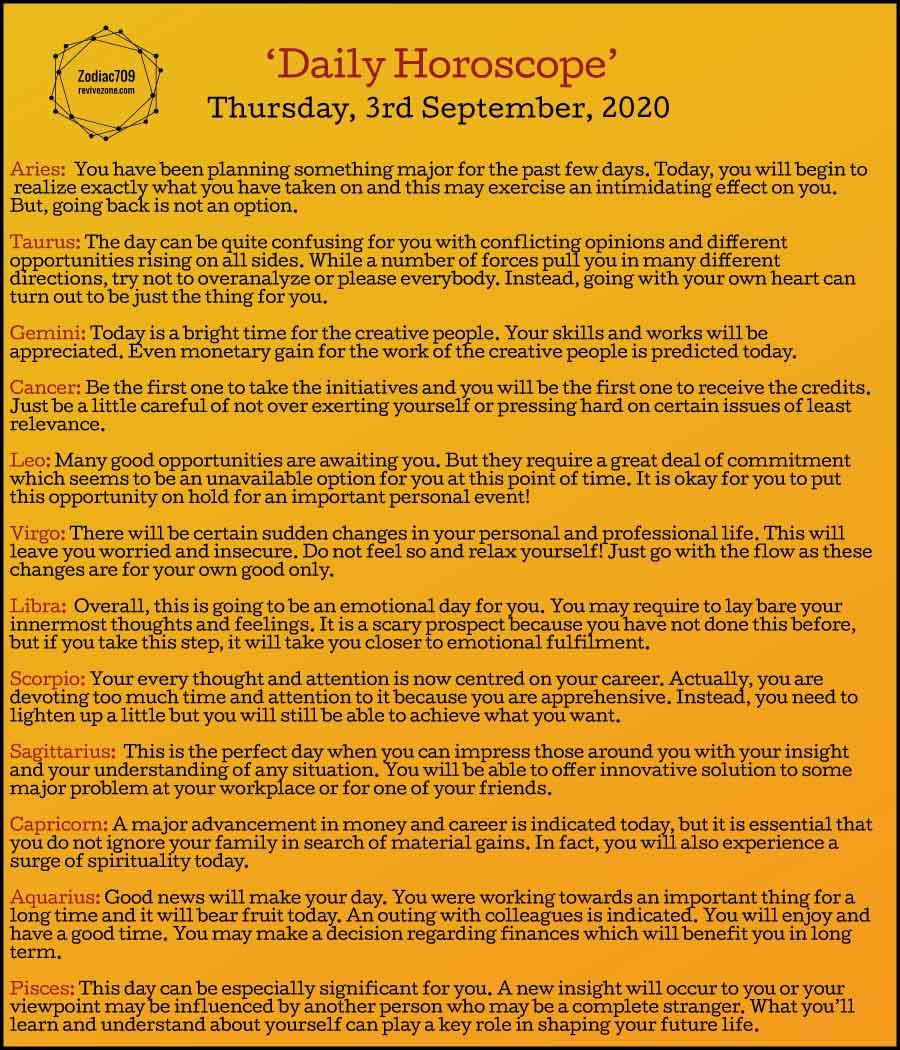 3rd September Horoscope 2020